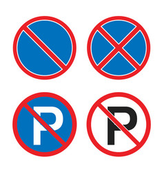 no parking or waiting road sign stopping vector image