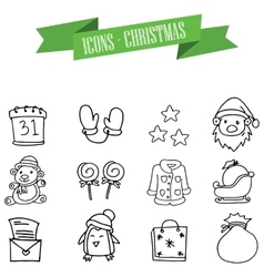 Object Christmas set icons art vector