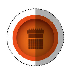 Orange round symbol calendar date icon vector