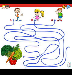 Paths maze game with kids and vegetables vector