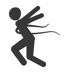 person running into finish line silhouette vector image