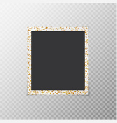 Photo frame with flying confetti stars vector