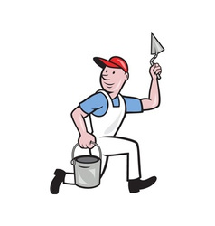 Plaster Masonry Worker Cartoon vector