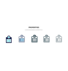 Properties icon in different style two colored vector