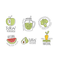raw vegan food labels set healthy natural raw vector image