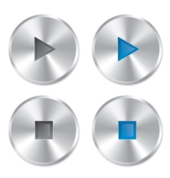 Realistic metallic Play and Stop player buttons vector image