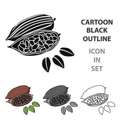roasted cacao beans icon in cartoon style isolated vector image