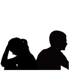 Sad unhappy young couple having problems vector