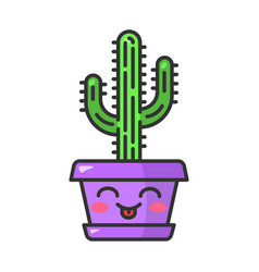 Saguaro cute kawaii character vector
