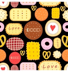 Seamless graphic pattern with delicious cookies vector image