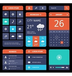 set flat mobile elements design and icons vector image