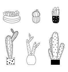 set of cute cartoon style cactus and succulents vector image