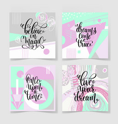set of four square posters hand lettering positive vector image