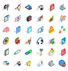 shield cloud icons set isometric style vector image