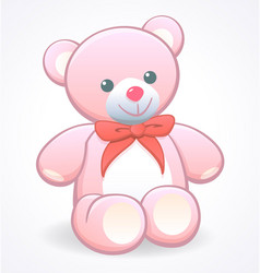 simple cute pink cuddly teddy bear vector image
