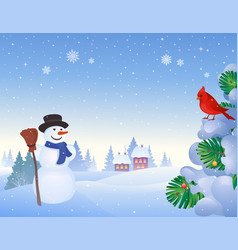 snowman and cardinal background vector image