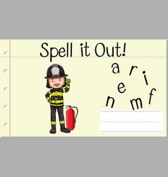 Spell english word fireman vector