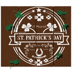 St Patricks day logo on wood vector image