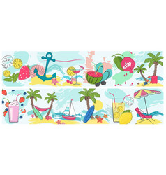 summer holidays vacation horisontal poster set for vector image
