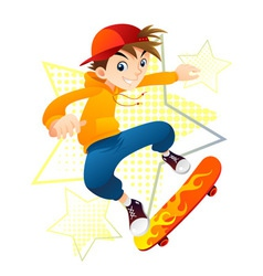Teenager on skateboard vector