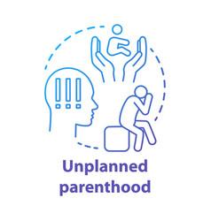 Unplanned parenthood concept icon single parent vector