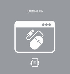 usb mouse and cable - flat minimal icon vector image