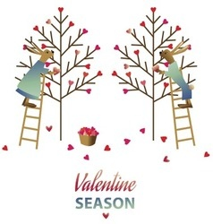 Valentine day card with two cute rabbits vector