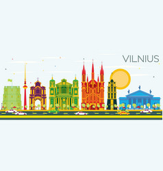 vilnius skyline with color buildings and blue sky vector image