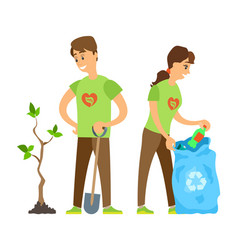 Volunteers man and woman trash and tree vector