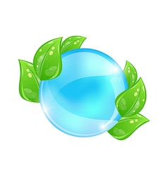 Water bubble with eco green leaves vector image