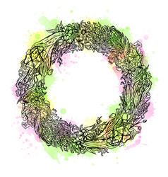 Watercolor hand drawn wreath of flowers vintage vector
