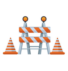 white background with traffic barrier with cones vector image
