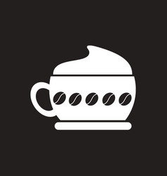White icon on black background cappuccino vector