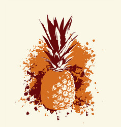 whole pineapple fruit with abstract grunge blots vector image