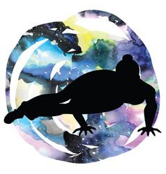 Women silhouette eight-angle yoga pose vector
