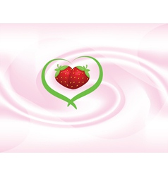 yoghut with strawberries vector image