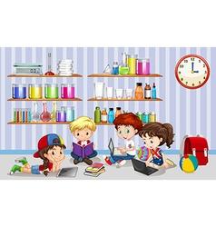 Children working on computers in classroom vector image vector image