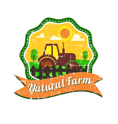 farm logos design with grunge texture vector image vector image