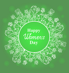 happy womens day flower and herbage frame vector image vector image