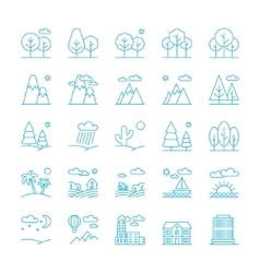 Landscape icons thin line style flat design vector image vector image