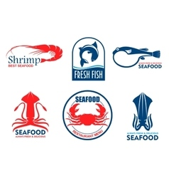 Seafood and fish products icons vector image