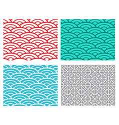 seamless wave sea pattern in chinese style vector image