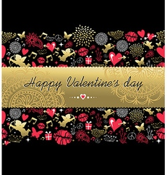 Valentines day greeting card pattern gold icon vector image vector image