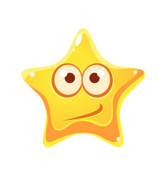 confused emotional face of yellow star cartoon vector image