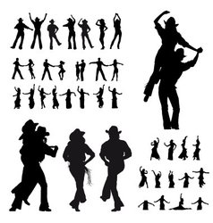 Dancers silhouette vector image