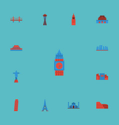 flat icons london seattle japan and other vector image