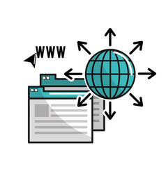 global information data connection service vector image vector image