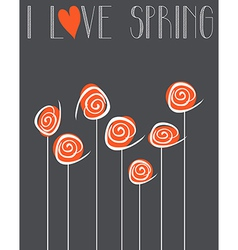 I love spring chalkboard background vector image