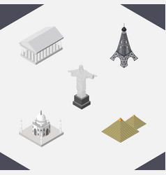 isometric cities set of athens india mosque vector image vector image