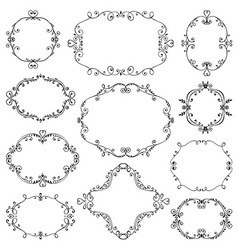 set of hand drawn frames with vignette branches vector image vector image